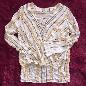 Vertical stripes long sleeve tassel string top
